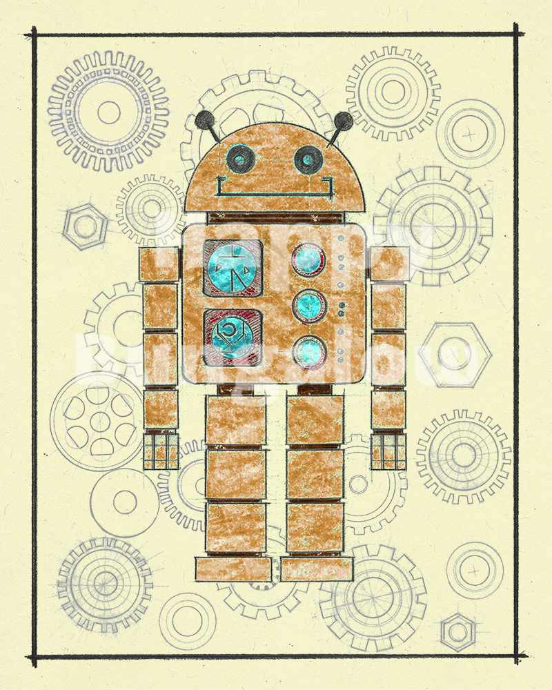 Boys Room Decor Robot Wall Art