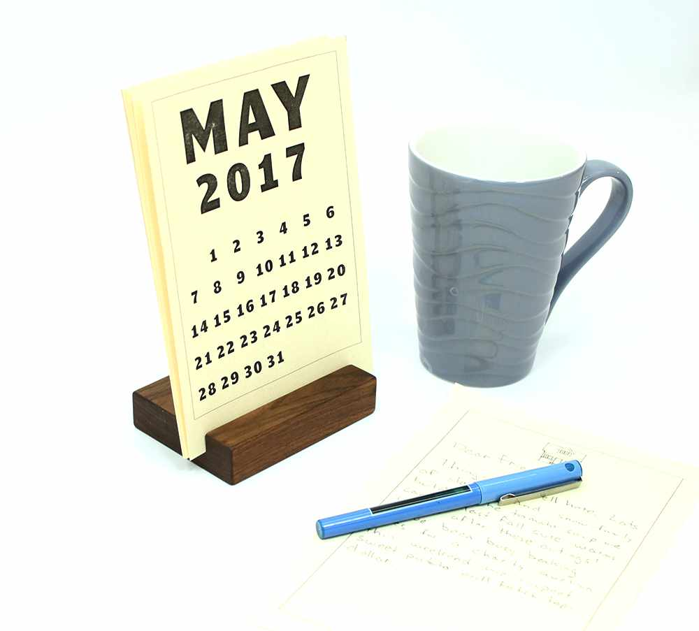Wood Block Desk Calendar Stand