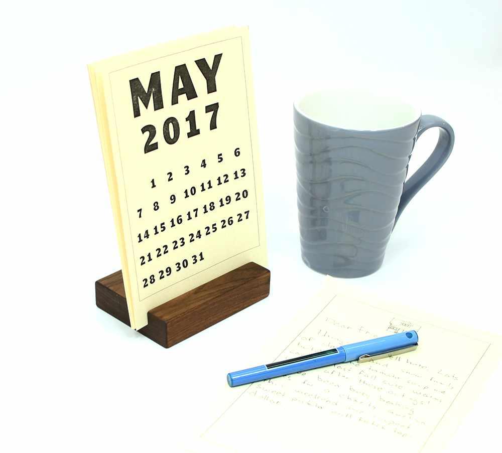 wood block desk calendar stand happy bungalow
