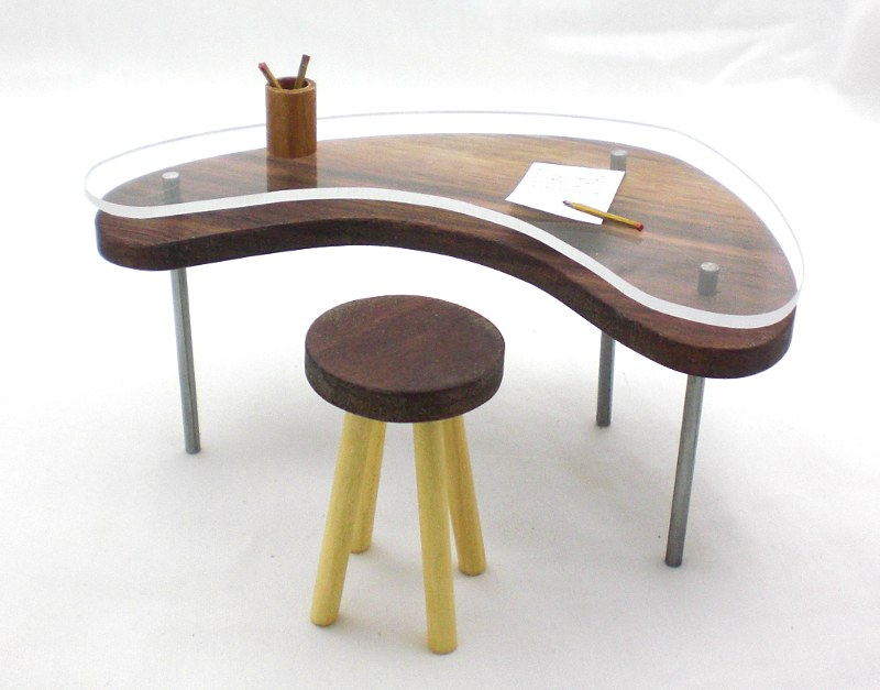 Mini Glass Top Modern Desk