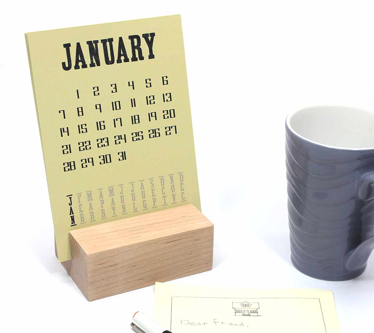 raw wood desk calendar stand happy bungalow