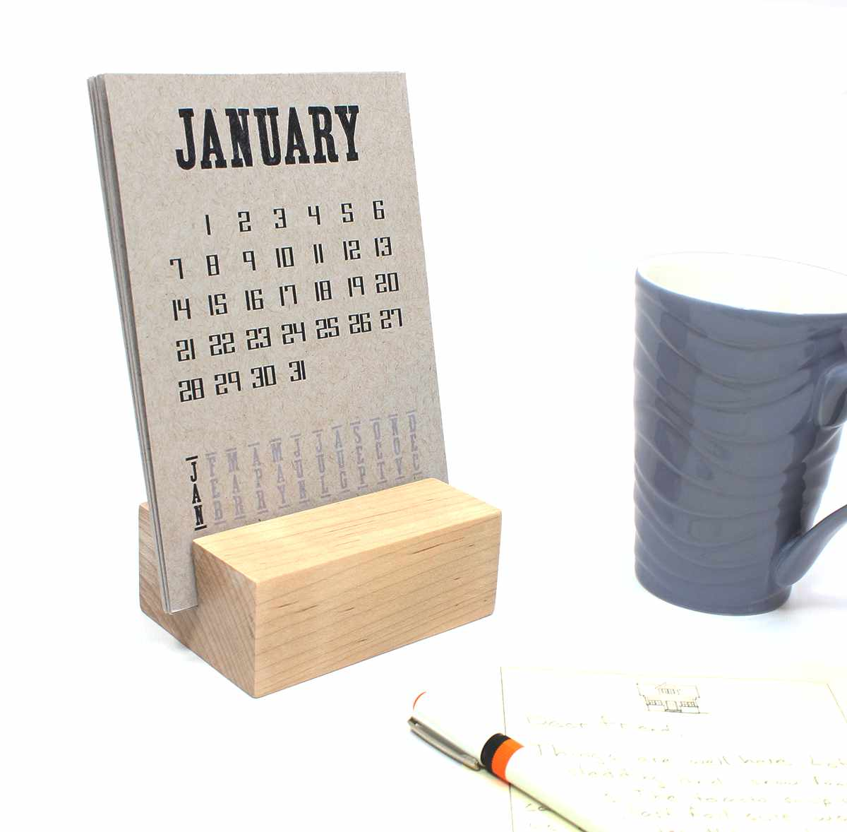 2018 Desk Calendar with Wood Block Stand
