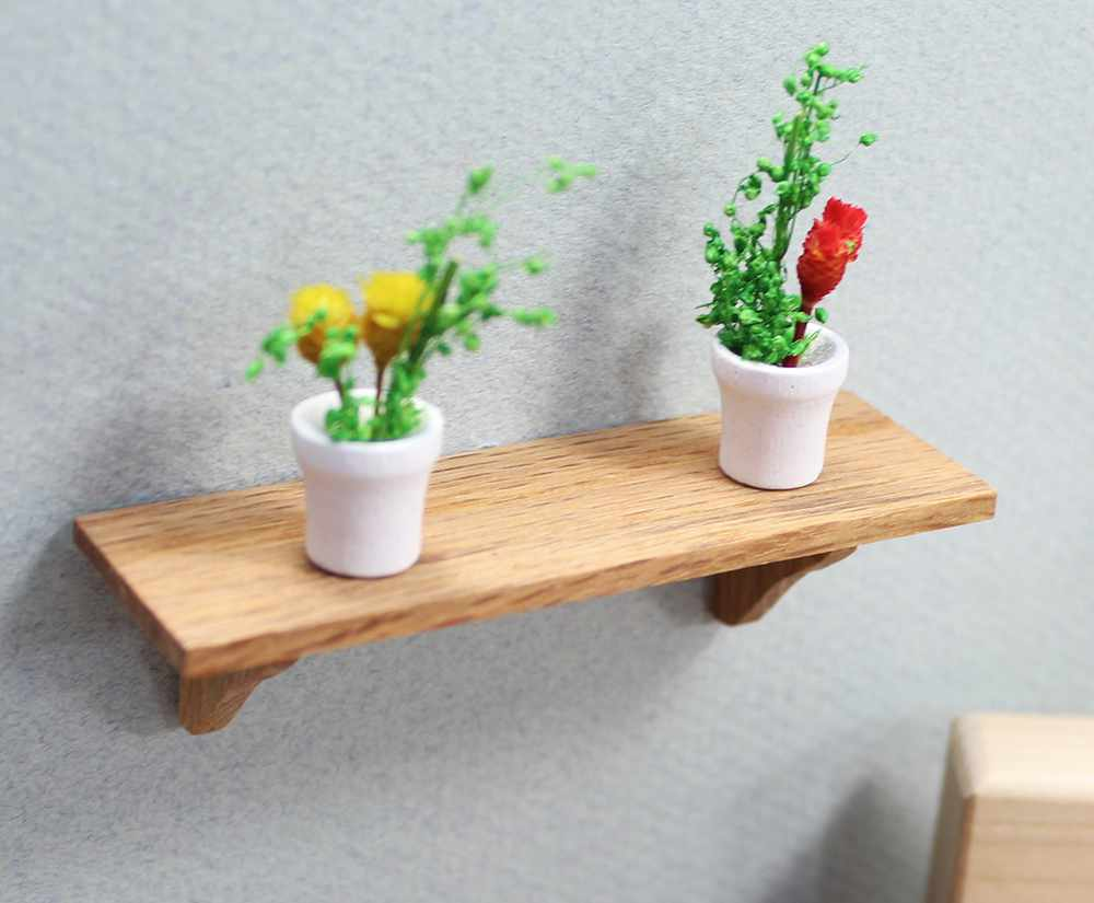 Mini Oak Long Wall Shelf