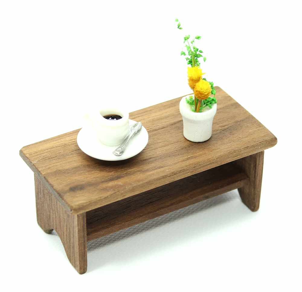 Dollhouse Mini Walnut Coffee Table
