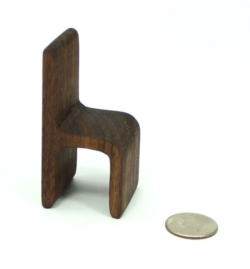 Modern Dark Wood Chair Miniature