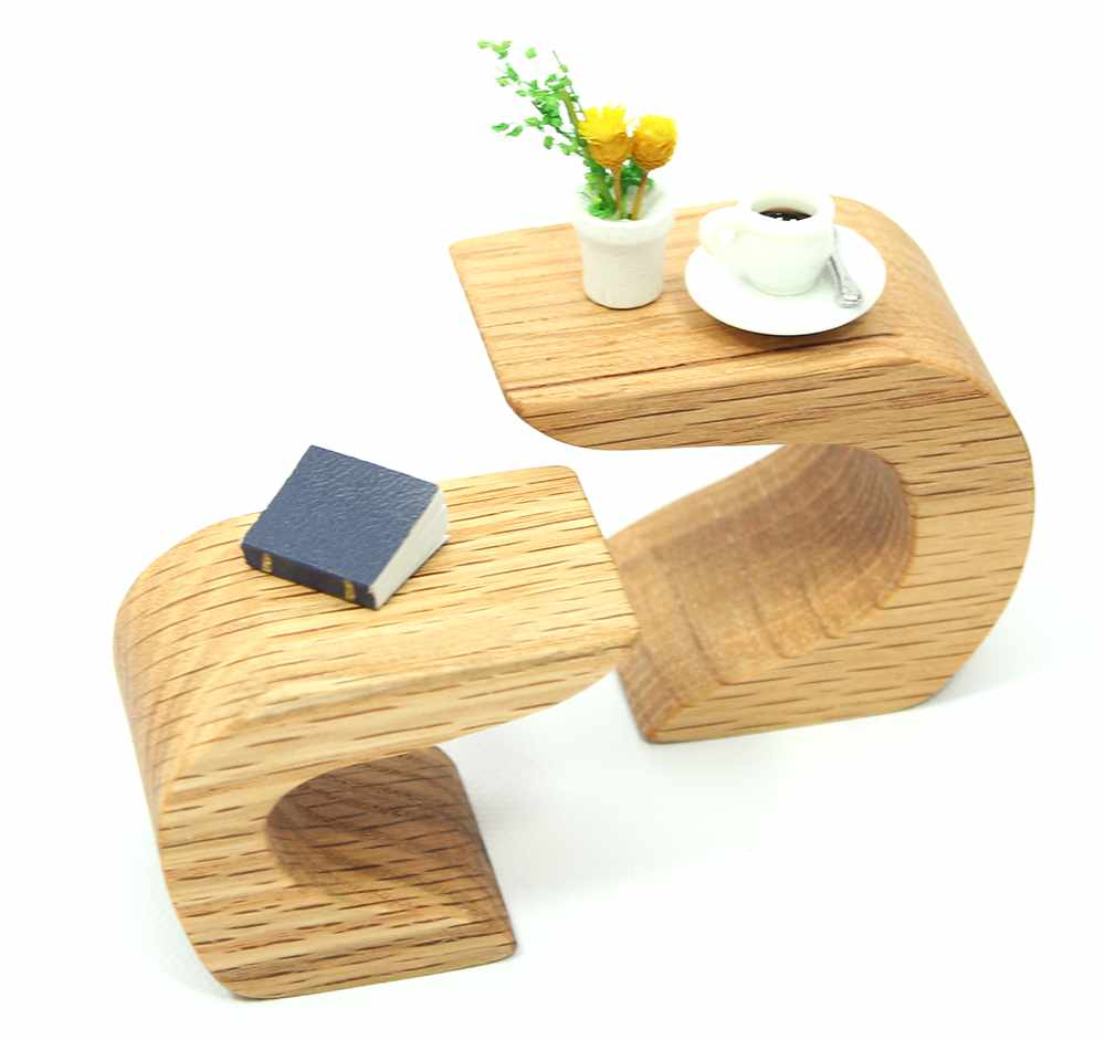 Mini Oak Mod Curvy End Tables