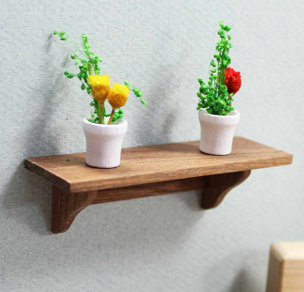 Mini Walnut Long Wall Shelf