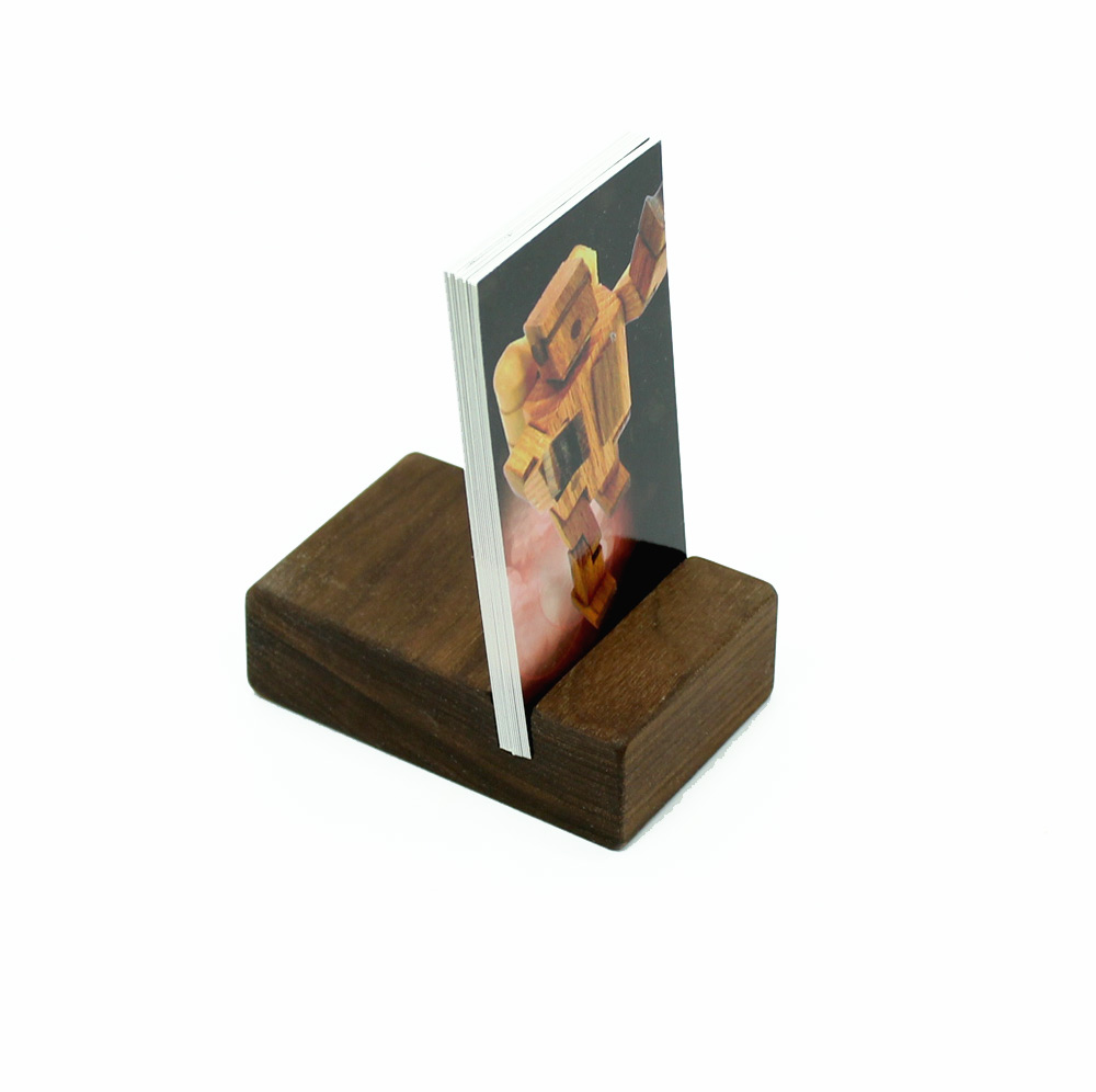 Walnut Vertical Business Card Holder | Happy Bungalow