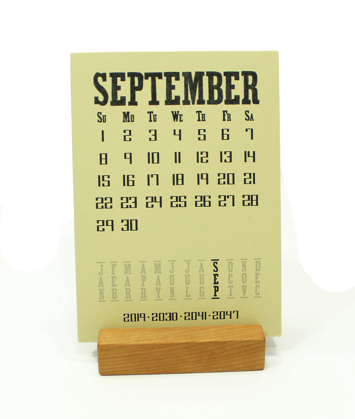 2019 Cherry Wood Desk Calendar Stand