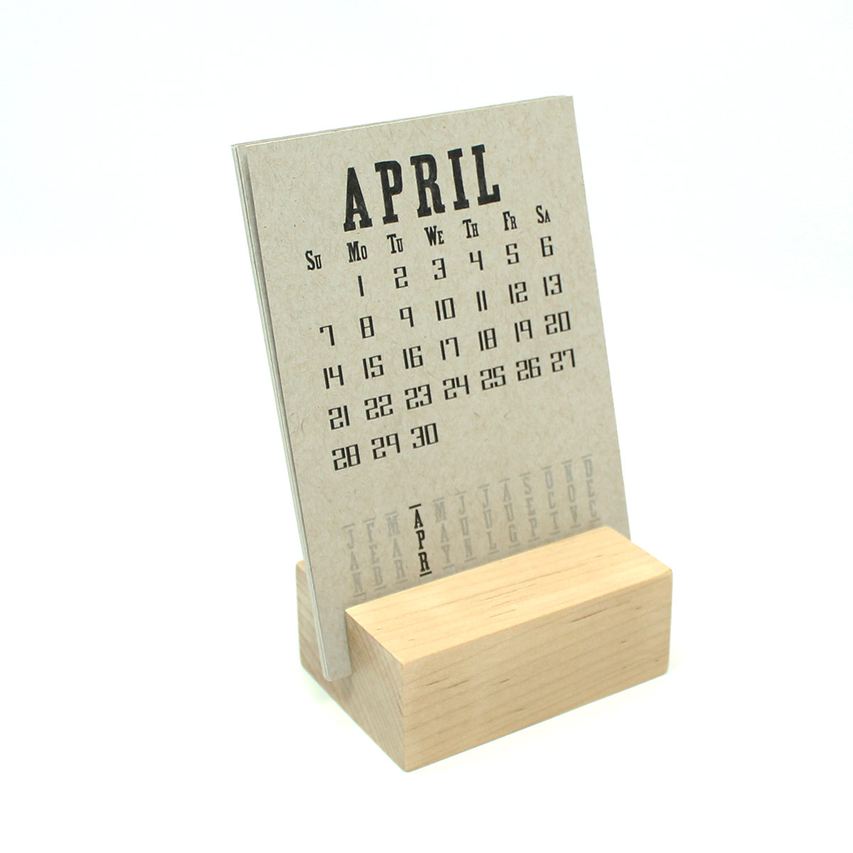 2019 Raw Wood Desk Calendar Stand