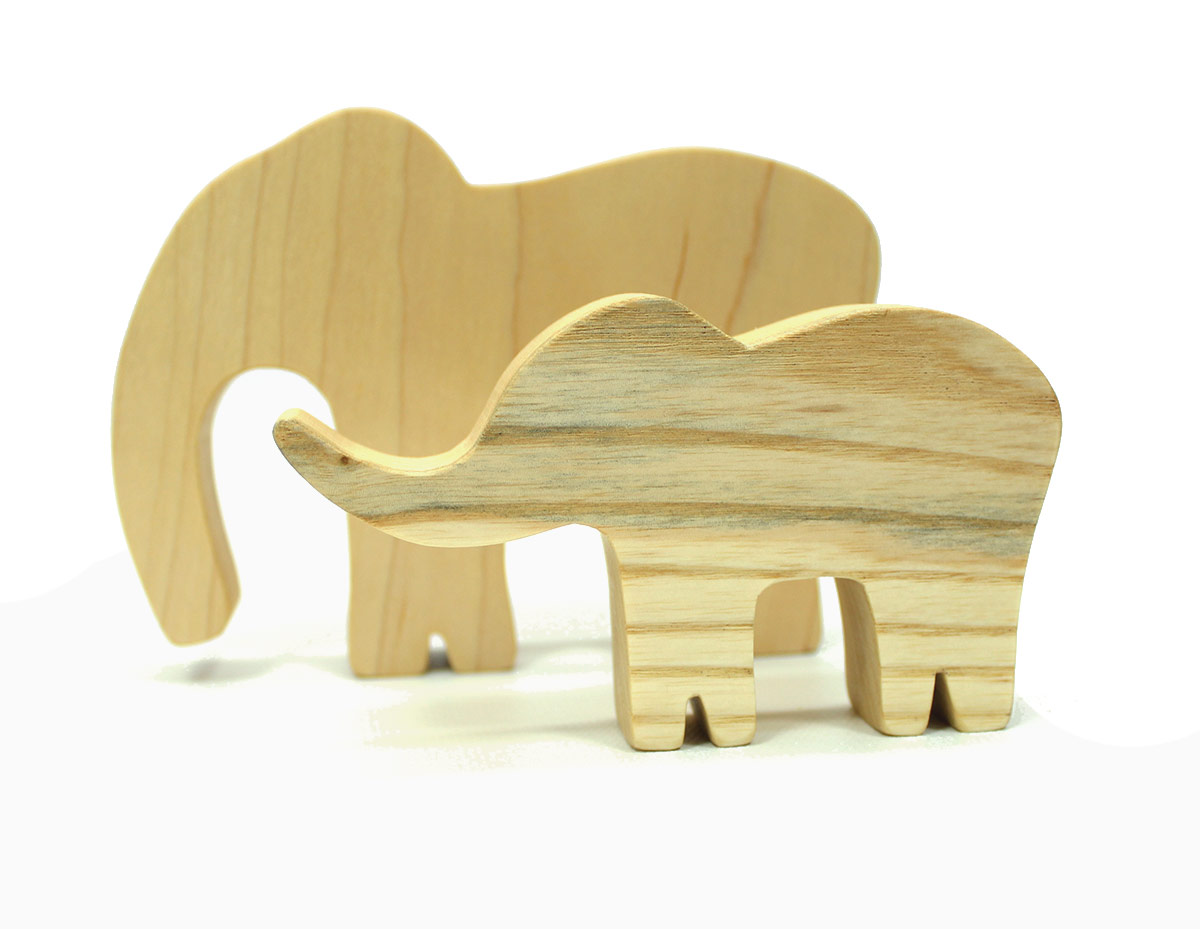 Elephant Wood Toy Family
