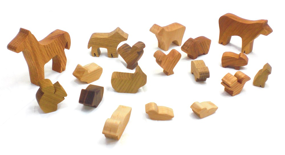Barnyard in a Bag - Wood Farm Animal Toy Set