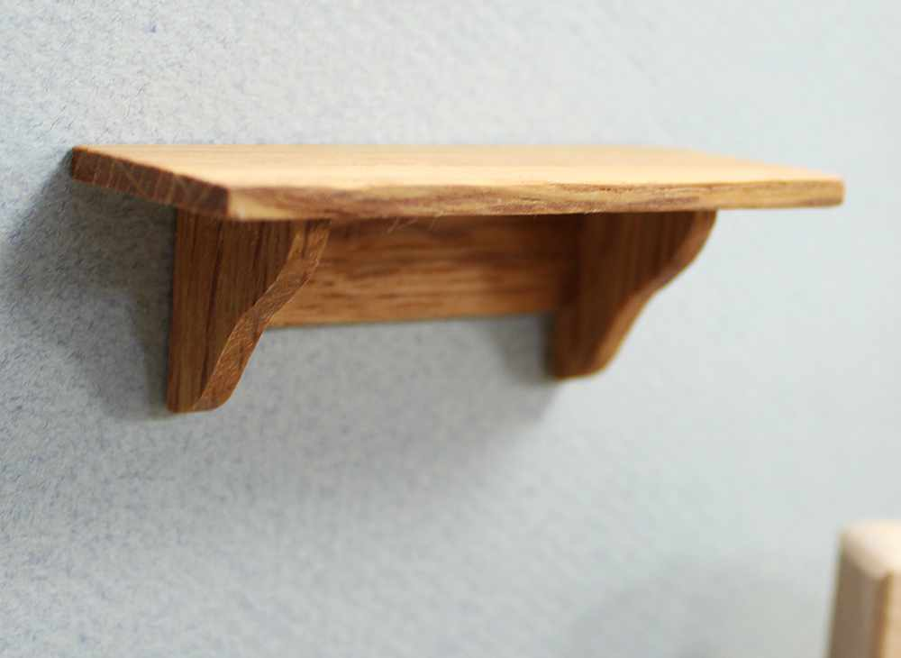 Mini Oak Short Wall Shelf