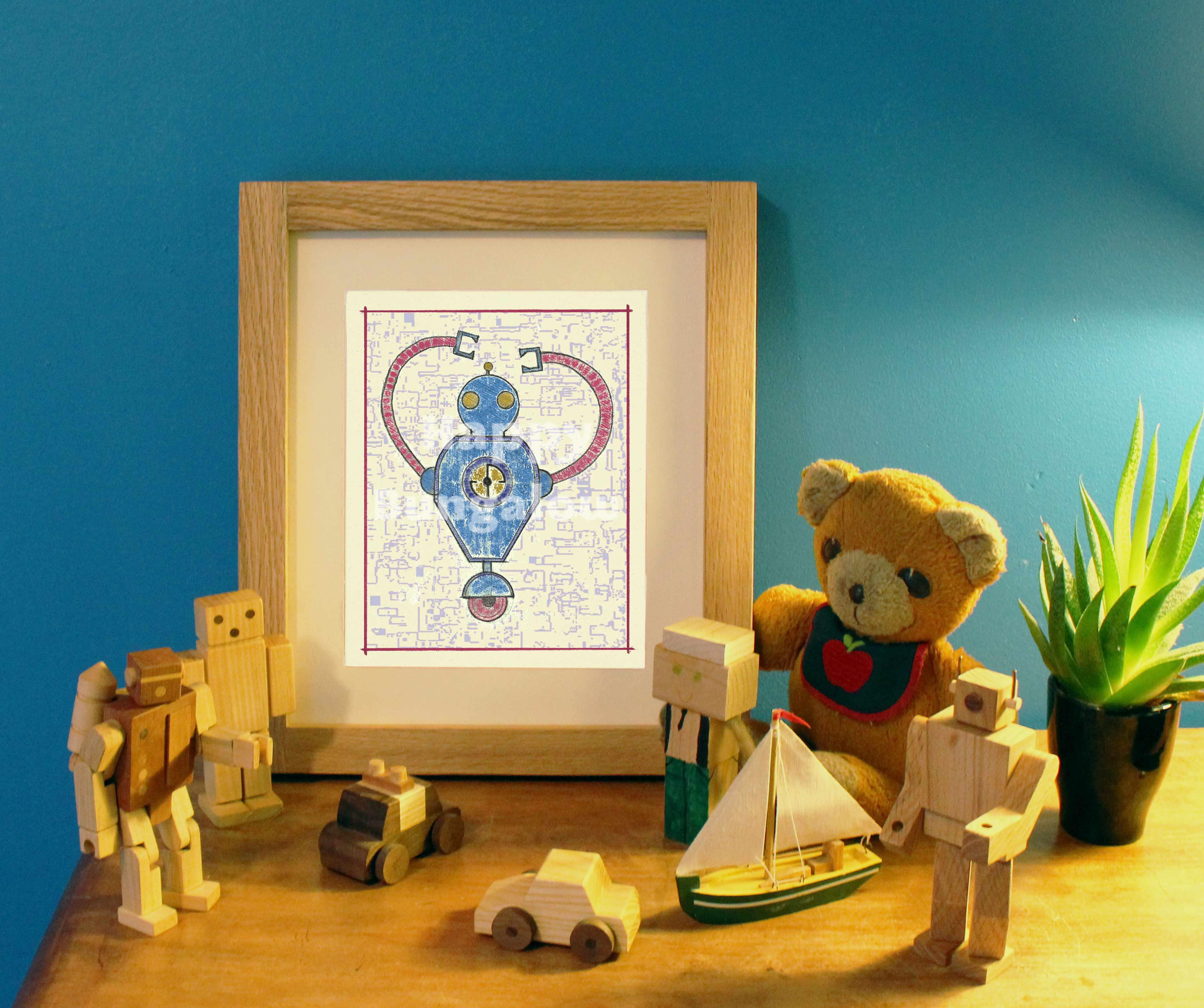 Robot Print For Kids Room Happy Bungalow