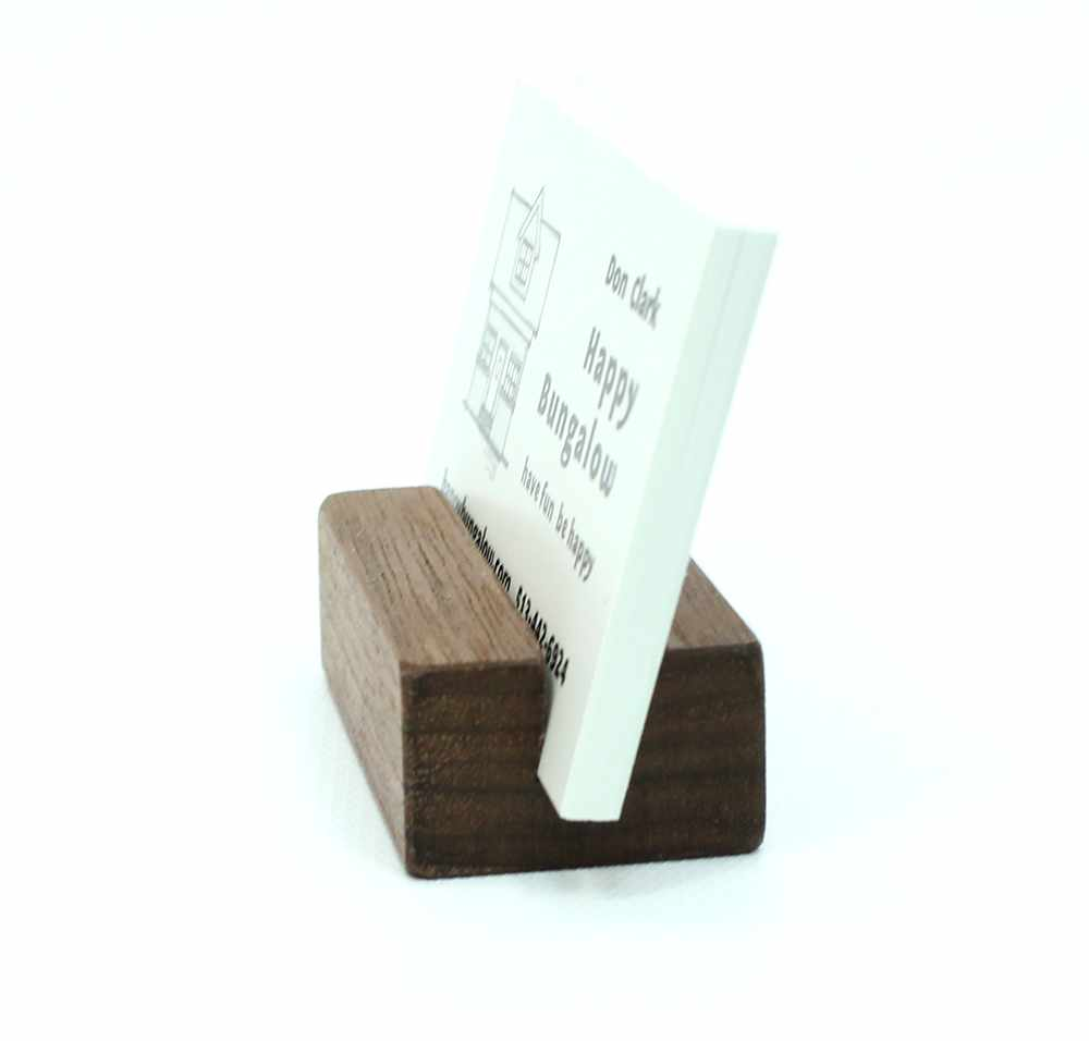 Natural Walnut Business Card Holder - Extra Capacity