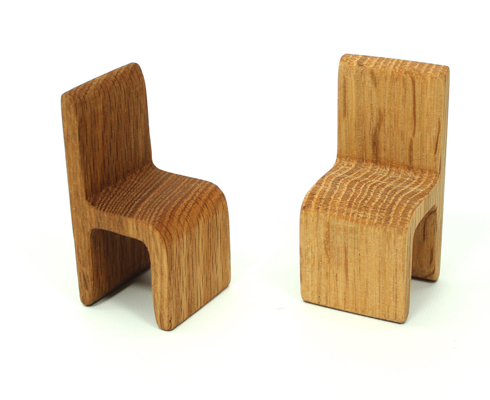 Modern Oak Wood Chair Miniature