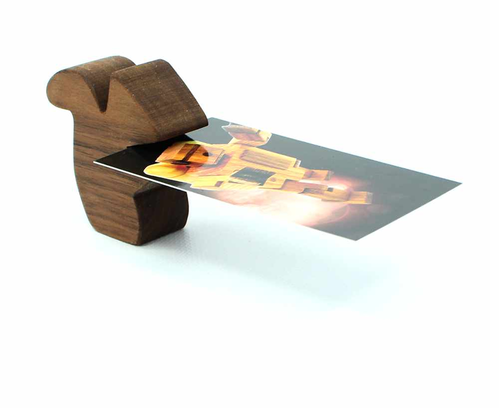 Squirrel Natural Walnut Business Card Holder