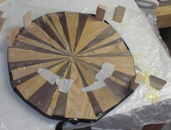 Happy Bungalow Wood Clock Process 06a Walnut Cherry Wet Glue