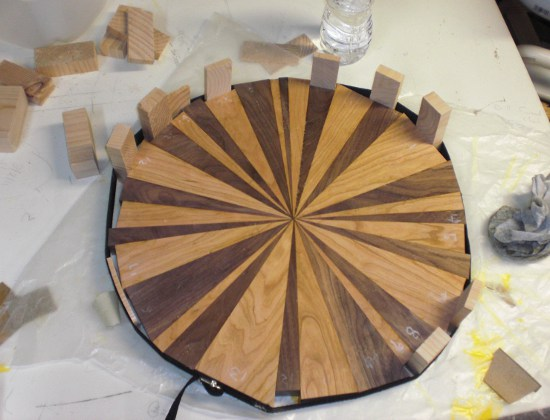 Happy Bungalow Wood Clock Process 07 Walnut Cherry Glueup