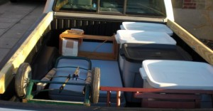 Packed truck with show materials