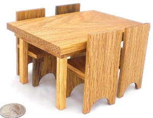 Happy-Bungalow-Wood-Dollhouse-Furniture-1-12-Scale-Oak-Dining-Set-Table-And-Chairs-alt002a-300