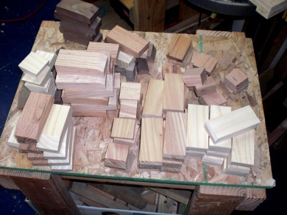 Pieces for Toy Cars cut and ready for drilling.