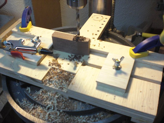 Wood Toy Car on drill press.