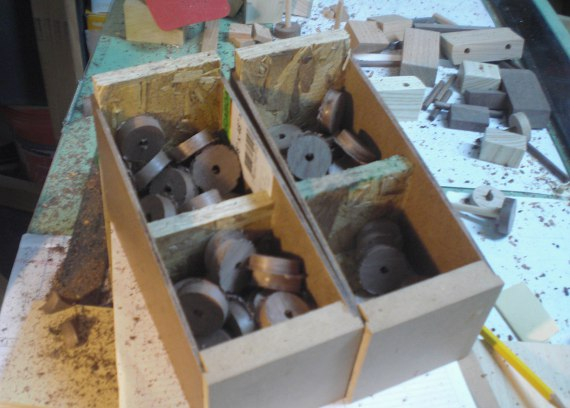Wood Tires waiting sanding.