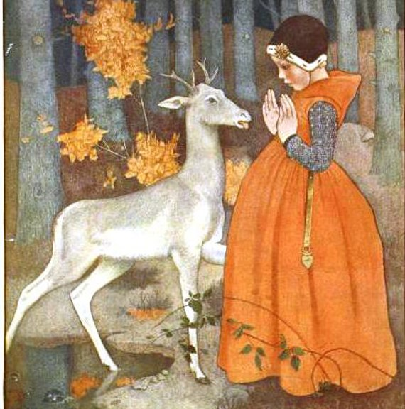 Vintage illustration magazine cover Girl Deer
