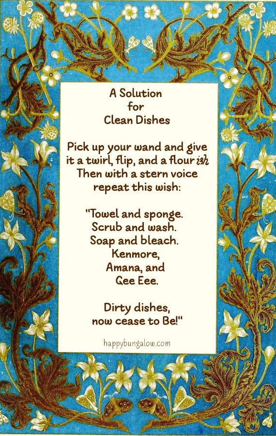 Magic spell for cleaning dishes