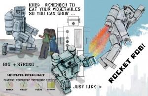robot comic robot art