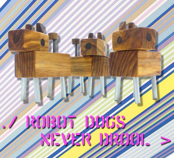 wood robot dogs with metal legs and magnaized heads