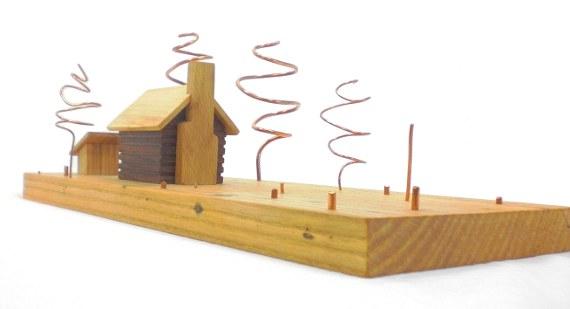wood art - log cabin homestead