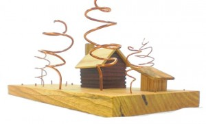 Wood art - log cabin and outbuilding