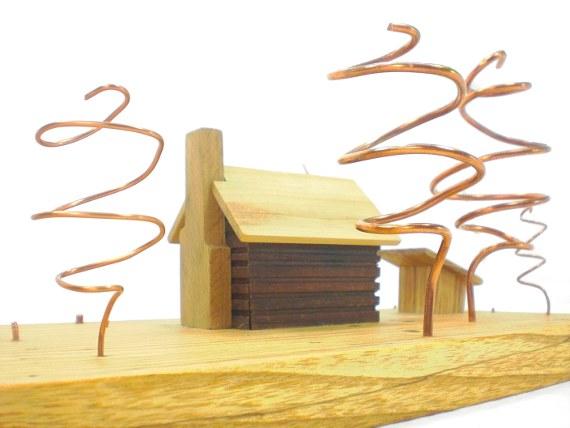 wood art - log cabin - racoons eye view
