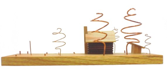 wood art - log cabin with copper trees