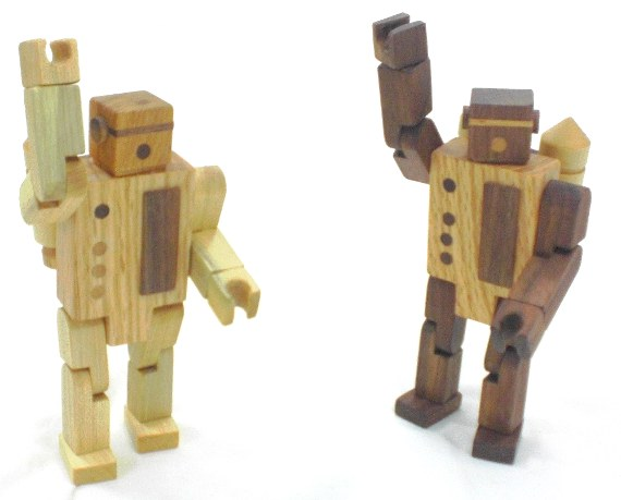 two wooden robot toys