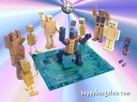 robot toys dance on circuit board dance floor