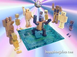 robot toys dance on circuit board dance floor