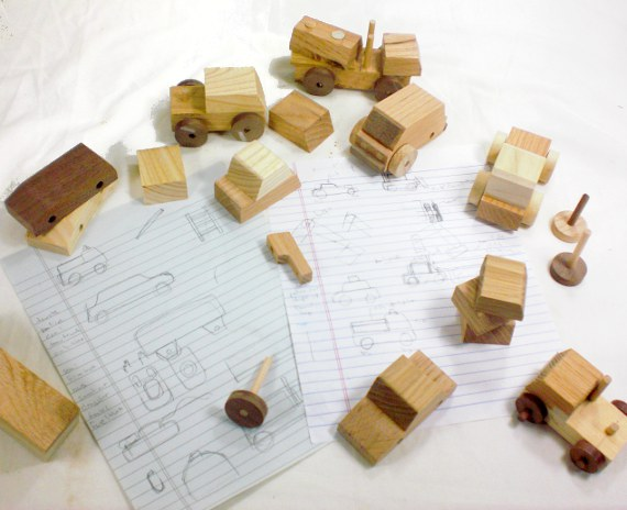 wooden cars and trucks