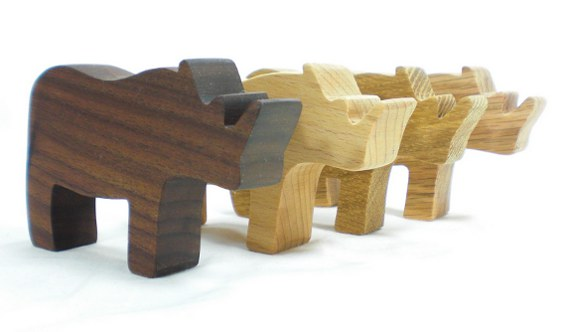 wooden toy rhinos
