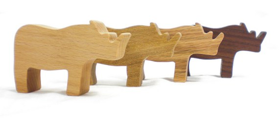 wooden toy rhino party favors