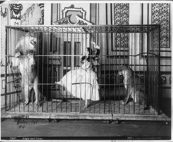 Lion Tamer in Cage with Lion - Vintage Illustration