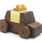police car toy made from natural wood, toy for boys