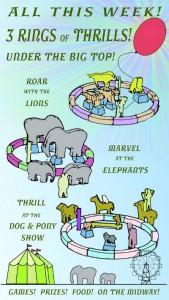 threee ring circus advertisement