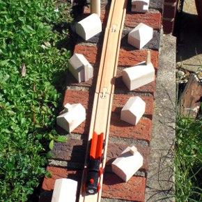 wood train buildings