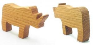 wooden toy rhino