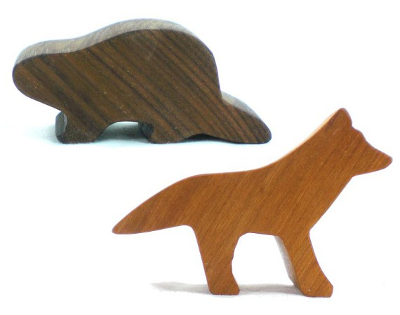 wooden beaver and fox