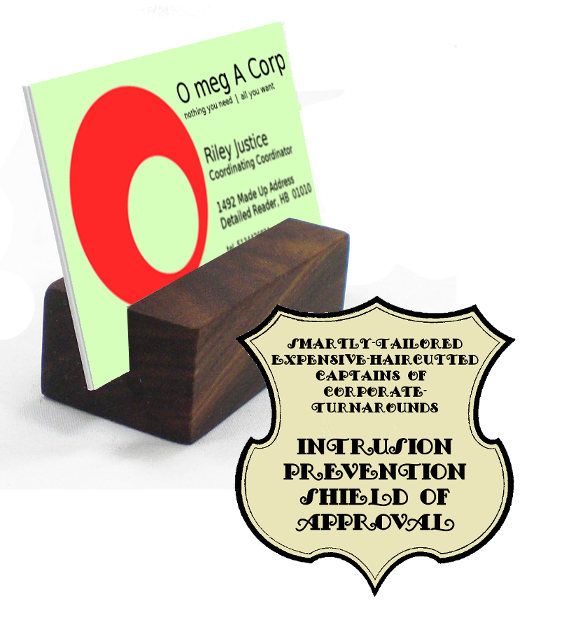 wood card holder with shield of approval