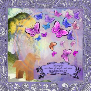 fanciful illustration with unicorn creating butterflies